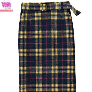 シマムラ(しまむら)の2PINK ベルト付きチェック柄ナロースカート(ロングスカート)