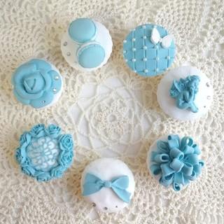 ティファニーブルーカップケーキ7個セット(インテリア雑貨)
