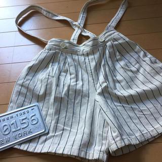 ジーユー(GU)の女の子140 デニム生地 肩紐付き ショートパンツ キュロット(スカート)