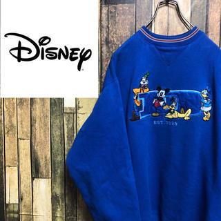ディズニー(Disney)の【激レア】ディズニー☆ミッキー刺繍ロゴ入りラインリブスウェット 90s(スウェット)