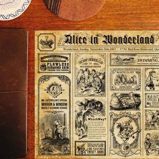 ヴィンテージ新聞・不思議の国のアリス・デザインペーパー(カード/レター/ラッピング)