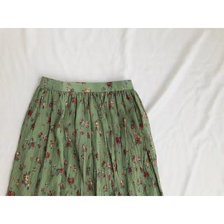 花柄スカート  プリーツスカート  ロングスカート  レトロ(ロングスカート)