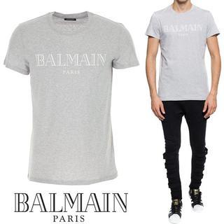 バルマン(BALMAIN)の【5】BALMAIN18AW ロゴプリント クルーネックグレー 半袖 Tシャツ(Tシャツ/カットソー(半袖/袖なし))