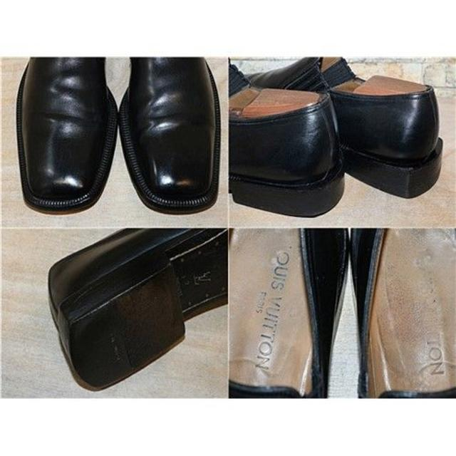 LOUIS VUITTON(ルイヴィトン)の定価11万円 ルイヴィトン レザースリッポン 黒 27,5cm EU9 メンズの靴/シューズ(スリッポン/モカシン)の商品写真