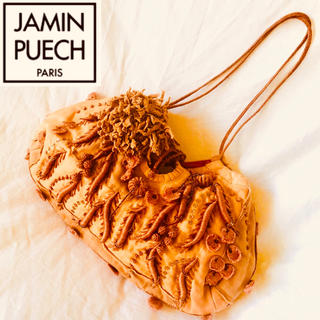 ジャマンピュエッシュ(JAMIN PUECH)の美品◆ JAMAN PUECH◆ジャマンピュエッシェ  9万 刺繍装飾バック(ハンドバッグ)