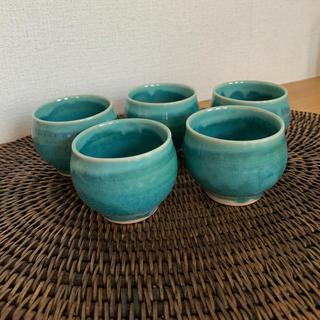 ハクサントウキ(白山陶器)の会津流紋焼5つセットmadu湯呑み茶碗(陶芸)