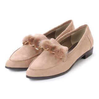ランダ(RANDA)のRANDA ファーチェーンローファー ベージュ Lサイズ(ローファー/革靴)