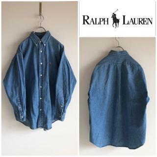 ラルフローレン(Ralph Lauren)の90s ラルフローレン ポニー刺繍 デニムシャツ BIG SHIRT 男女着用可(シャツ/ブラウス(長袖/七分))