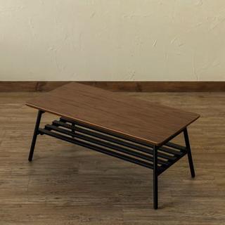 センターテーブル 棚付き 折りたたみ カフェ ローテーブル オシャレ(ローテーブル)