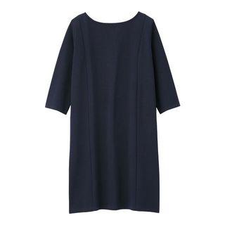 ジーユー(GU)の新品タグ付き未開封 Mサイズ ネイビー ワンピース(7分袖) 匿名配送(ミニワンピース)