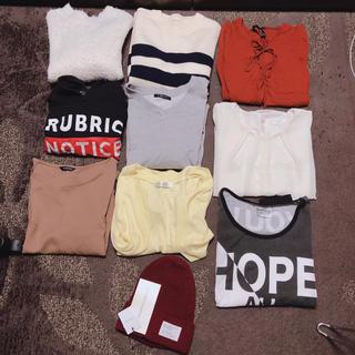 ジーユー(GU)のTシャツ トップス ニット 長袖 半袖 ニット帽(Tシャツ(長袖/七分))