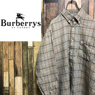 バーバリー(BURBERRY)の【激レア】バーバリーズ☆刺繍ロゴ入りボタンダウンチェックシャツ 90s(シャツ)