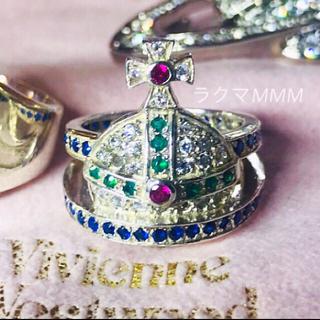 ヴィヴィアンウエストウッド(Vivienne Westwood)の《訳あり》マルチカラー オーブリング/M/silver925(リング(指輪))