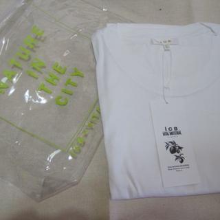 アイシービー(ICB)の大きいサイズL白ポーチ付シャツ未使用♭3387(Tシャツ(半袖/袖なし))