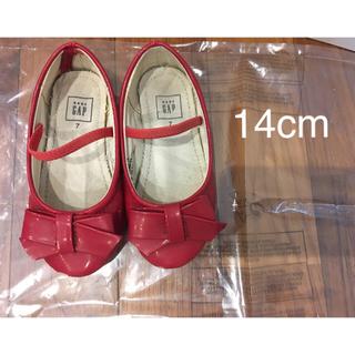 ベビーギャップ(babyGAP)のギャップベビー 7サイズ 赤リボン ストラップシューズ(バレエシューズ)