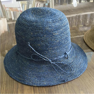 MUJI (無印良品) - 無印良品 ラフィア たためるキャペリンハット ネイビー /帽子muji紫外線対策