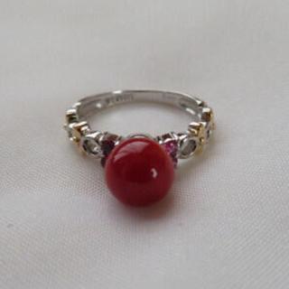 Pt900/K18 血赤珊瑚のリング(リング(指輪))