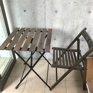 イケア(IKEA)のイケア セット ガーデンデスク ガーデンチェア ブラックアカシア材 スチール(アウトドアテーブル)