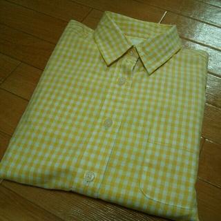 エージープラス(a.g.plus)のイエロー長袖チェックシャツ(シャツ/ブラウス(長袖/七分))