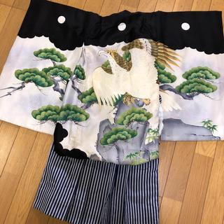 七五三 男の子 袴 着物 3点セット 鷹 刺繍(和服/着物)