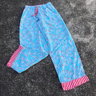 パナマボーイ(PANAMA BOY)のused munki munki パジャマパンツ ボーダー サル ブルー (カジュアルパンツ)