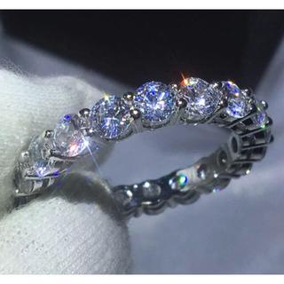 リング 指輪 CZ ダイヤ フルエタニティ 16号 プラチナ仕上げ(リング(指輪))