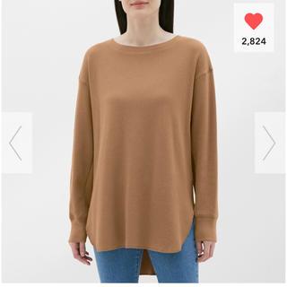 ジーユー(GU)のハニカムロングスリーブT ブラウン 完売色 XLサイズ GU ジーユー(Tシャツ(長袖/七分))