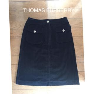バーバリー(BURBERRY)のTHOMAS BURBERRY コーデュロイスカート 黒(ひざ丈スカート)