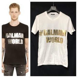 バルマン(BALMAIN)の本物 バルマンオム バルマンワールド Tシャツ XS 白×金 BALMAIN(Tシャツ/カットソー(半袖/袖なし))