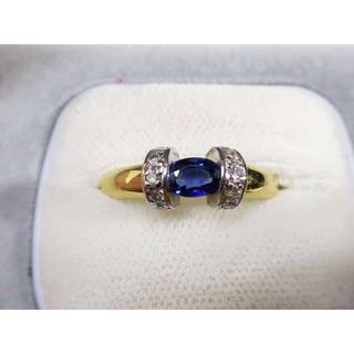 Pt900/K18 サファイア0.65ctダイヤ0.20ctデザインリング 指輪(リング(指輪))