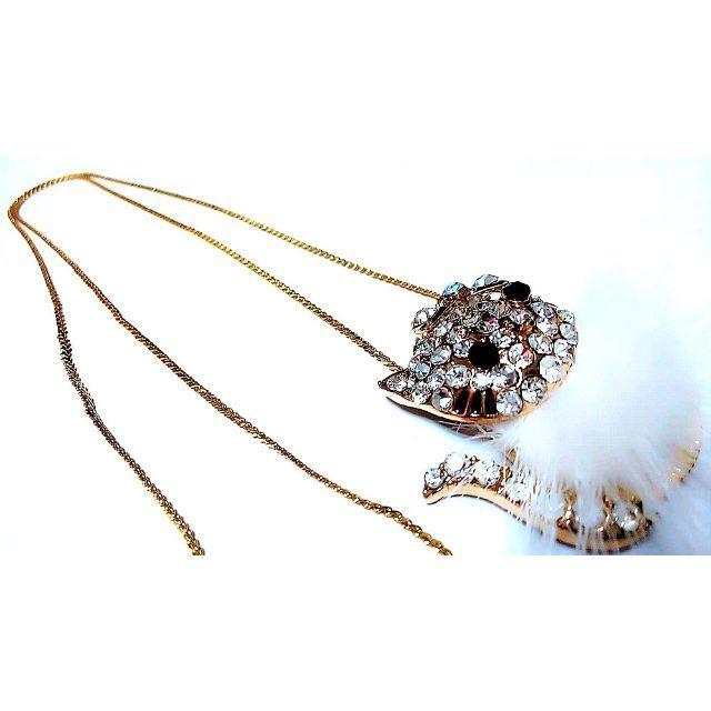 ハローキティ(ハローキティ)のハローキティ(HelloKitty)ゴールドクリスタルホワイトファーペンダント レディースのアクセサリー(ネックレス)の商品写真
