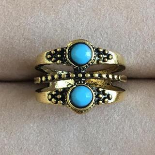 (92)ターコイズブルーの2粒ビジューリング ゴールド ヴィンテージ(リング(指輪))