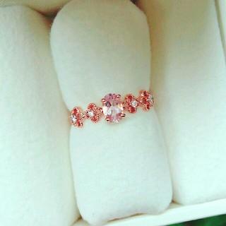 アガット(agete)のK10PG モルガナイト ダイヤモンド リング(リング(指輪))