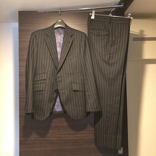 麻布テーラー スーツ セットアップ ジャケット パンツ XSサイズ グレー(セットアップ)