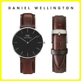 ダニエルウェリントン(Daniel Wellington)の【国内保証付】ダニエルウェリントン 40mm シルバー ブラウン(腕時計(アナログ))
