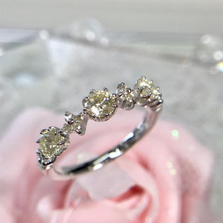 K10WG ダイヤモンド リング お花 フラワー 5連 指輪 18-8852(リング(指輪))