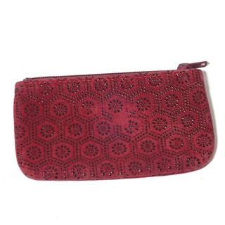 インデンヤ(印傳屋)のA765 印傳屋 小銭入れ コインケース 亀甲模様 黒×赤(コインケース)