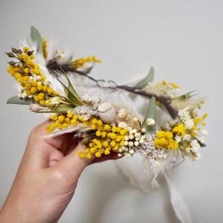 記念日を彩るドライフラワーの春色花かんむり〜mimosa ③〜(ドライフラワー)