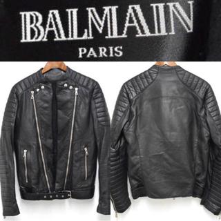 バルマン(BALMAIN)の【約50万円】BALMAIN HOMME 13AW バイカーラムレザージャケット(レザージャケット)