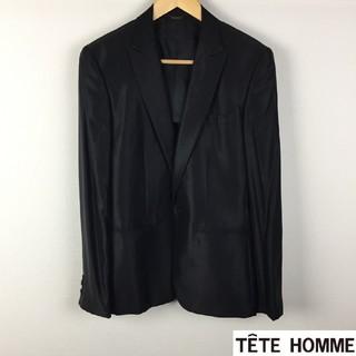 テットオム(TETE HOMME)の美品 テットオム テーラードジャケット ブラック光沢 サイズL(テーラードジャケット)
