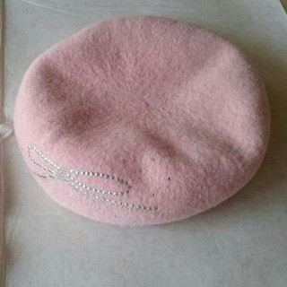 フルラ(Furla)のFURLA ベレー帽フルラピンクラインストーンリボン(ハンチング/ベレー帽)