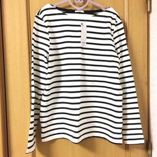 ジーユー(GU)のGU ボーダーボートネックTシャツ(白)(Tシャツ(長袖/七分))