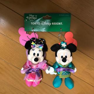 ディズニー(Disney)のミッキーとミニーのヌイグルミバッジセット(キャラクターグッズ)