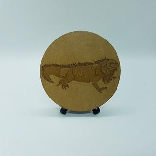 木製コースター グリーンイグアナ(おもちゃ/ペット小物)
