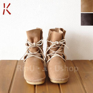 コース(KOOS)の☆KOOS  WAK-Sレースアップ ショートブーツ スエード 37 ¨̮♡(ブーツ)