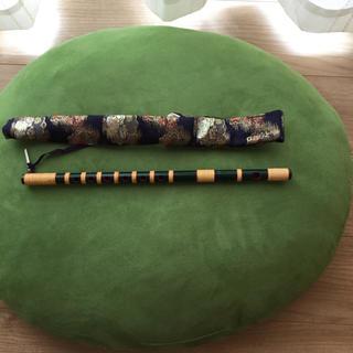 篠笛  獅子田  紫山 七本調子 6穴  緑色(横笛)
