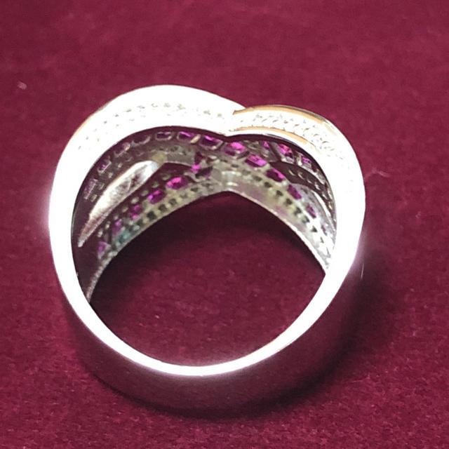 ピンク&ホワイトCZ シルバーカラーリング 女性 指輪 レディースのアクセサリー(リング(指輪))の商品写真