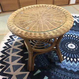 ニトリ(ニトリ)の送料無料 ラタン 籐 テーブル ガラス 木 和室 つくえ(ローテーブル)