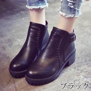 ステッチ付☆ベルト付ショートブーツ 黒(ブーツ)