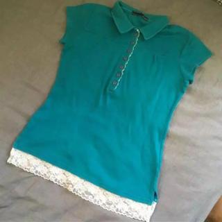 裾レース ポロシャツ レディース(ポロシャツ)